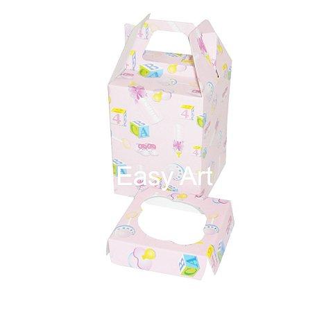 Caixa Maleta para 1 Mini Cupcake - Estampado Bebê Rosa