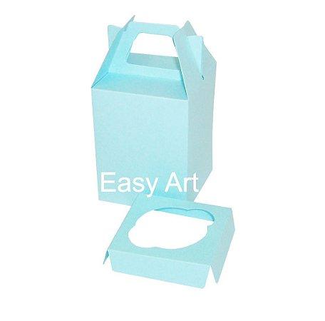 Caixa Maleta para 1 Cupcake - Azul Tiffany