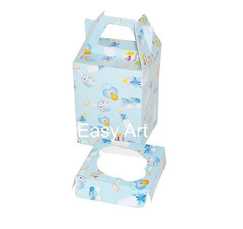Caixa Maleta para 1 Cupcake - Estampado Bebê Azul