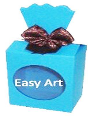 Caixinha para Presentes com Visor - Azul Turquesa