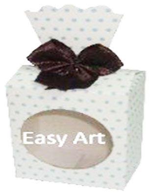 Caixinha para Presentes com Visor - Branco com Poás Azuis