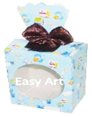 Caixinha para Presentes com Visor - Estampado Bebê Azul