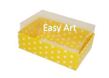 Caixas para 06 Mini Doces - Amarelo com Poás Brancas