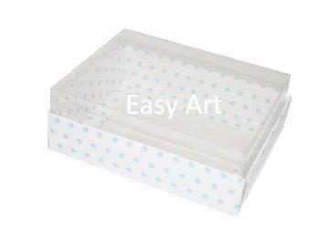 Caixas para 12 Mini Doces - Branco com Poás Azuis