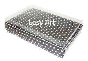 Caixas para 24 Mini Doces - Preto com Poás Brancas