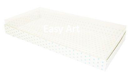Caixas para 50 Mini Doces - Branco com Poás Azuis