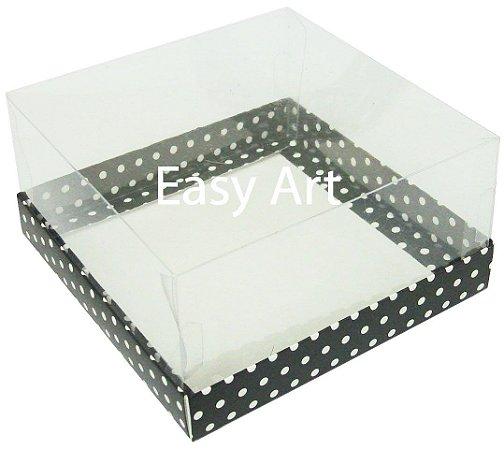 Caixas para Coração Lapidado / Mini Bolo - Preto com Poás Brancas