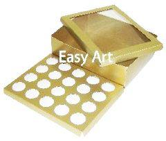 Caixas para Transporte de 20 Mini Cupcakes - Dourado Brilhante