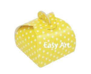 Caixinha Valise - Amarelo com Poás Brancas