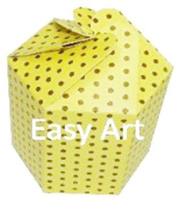 Caixa Flor para Presentes - Amarelo com Poás Marrom