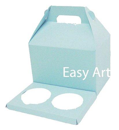 Caixa Maleta para 2 Cupcakes - Azul Claro
