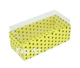 Caixas para 4 Macarons ou 2 Brigadeiros - Amarelo com Poás Marrom