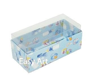 Caixas para 4 Macarons ou 2 Brigadeiros - Estampado Bebê Azul