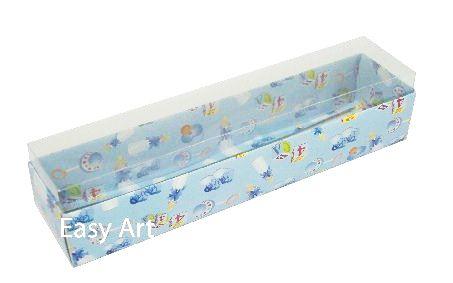 Caixas para 10 Macarons - Estampado Bebê Azul