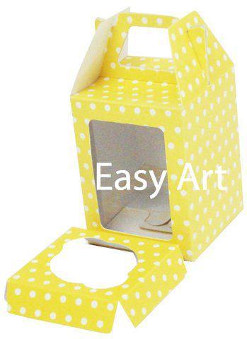 Caixa Maleta para 1 Mini Cupcake - Amarelo com Poás Brancas