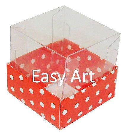 Caixa para Mini Bolos - Vermelho com Poás Brancas