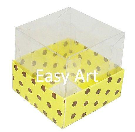 Caixa para Mini Bolos - Amarelo com Poás Marrom