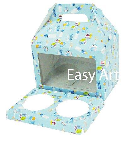 Caixa Maleta para 2 Cupcakes - Estampado Bebê Azul