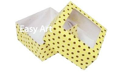 Caixa para 4 Brigadeiros - Amarelo com Poás Marrom