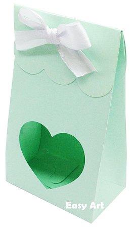 Sacolinha Francesa com Visor Coração Vazado - Verde Claro