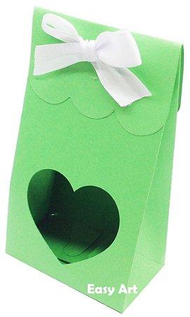 Sacolinha Francesa com Visor Coração Vazado - Verde Pistache