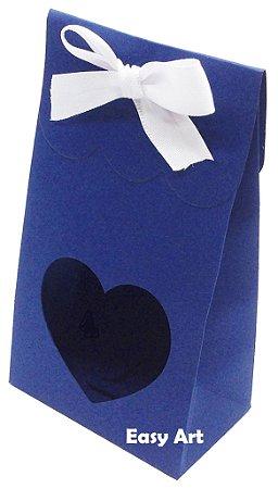 Sacolinha Francesa com Visor Coração Vazado - Azul Marinho