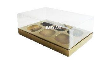 Caixas para 6 Mini Cupcakes - Dourado Brilhante