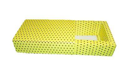 Caixas para 4 Brigadeiros - 12x12x4,5 / Amarelo com Poás Marrom