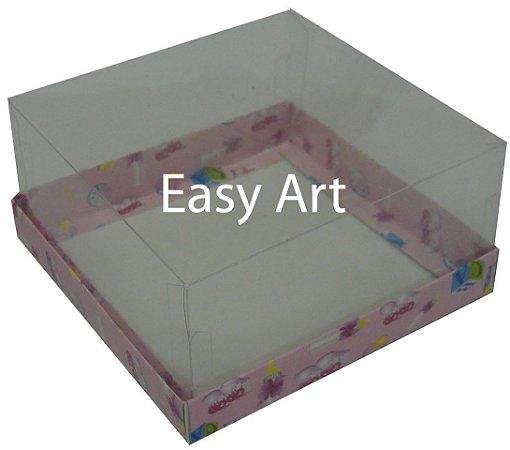 Caixinhas para Mini Bolos / Estampado Bebê Rosa - 12x12x6