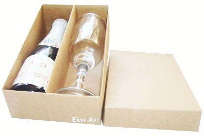 Caixas para Mini Vinho e Taça Sem Visor - Kraft