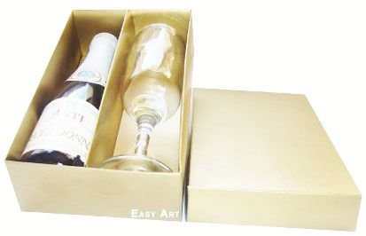 Caixas para Mini Vinho e Taça Sem Visor - Dourado Brilhante