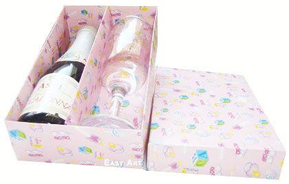 Caixas para Mini Vinho e Taça Sem Visor - Estampado Bebê Rosa