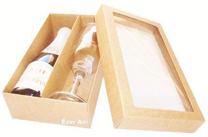 Caixas para Mini Vinho e Taça Com Visor - Kraft