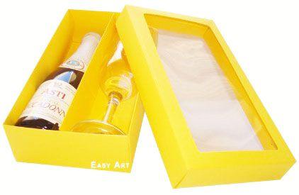 Caixas para Mini Vinho e Taça Com Visor - Pct com 10 Unidades
