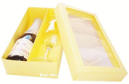 Caixas para Mini Vinho e Taça Com Visor - Marfim