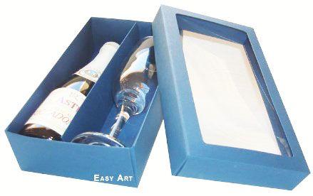 Caixas para Mini Vinho e Taça Com Visor - Azul Marinho