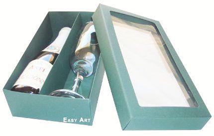 Caixas para Mini Vinho e Taça Com Visor - Verde Musgo