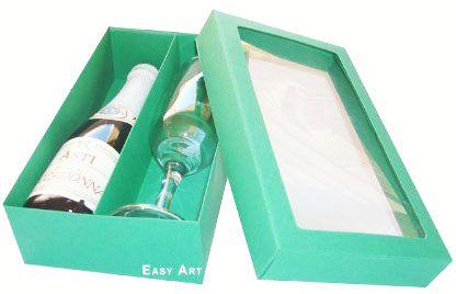 Caixas para Mini Vinho e Taça Com Visor - Verde Bandeira