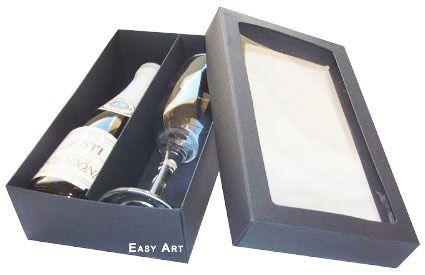 Caixas para Mini Vinho e Taça Com Visor - Preto