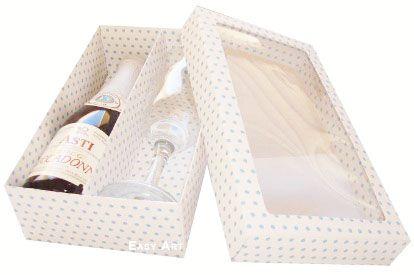Caixas para Mini Vinho e Taça Com Visor - Branco com Poás Azuis
