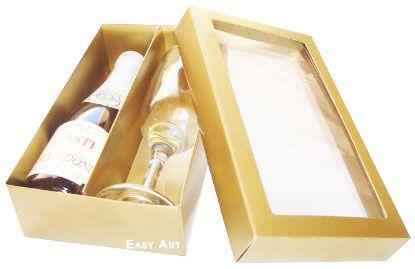 Caixas para Mini Vinho e Taça Com Visor - Dourado Brilhante