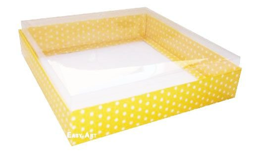Caixa para 16 Brigadeiros - Amarelo com Poás Brancas