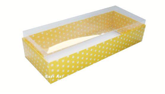 Caixa para 10 Brigadeiros - 20x8x4,5 / Amarelo com Poás Brancas