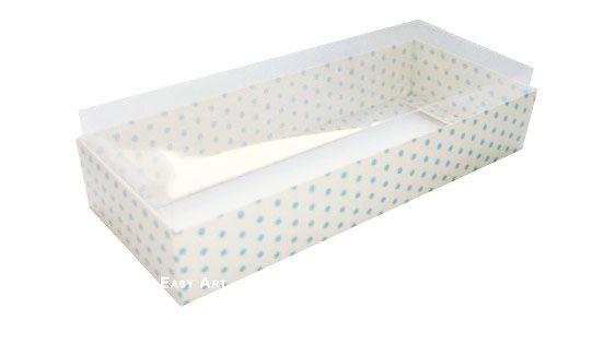 Caixa para 10 Brigadeiros - 20x8x4,5 / Branco com Poás Azuis