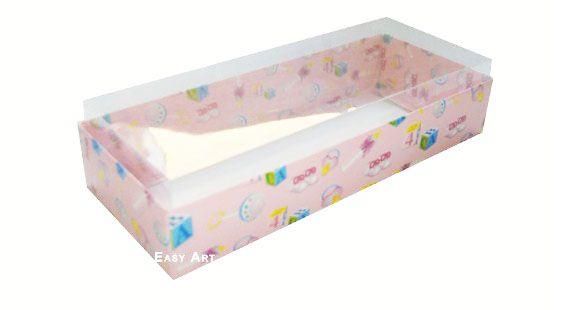 Caixa para 10 Brigadeiros - 20x8x4,5 / Estampado Bebê Rosa