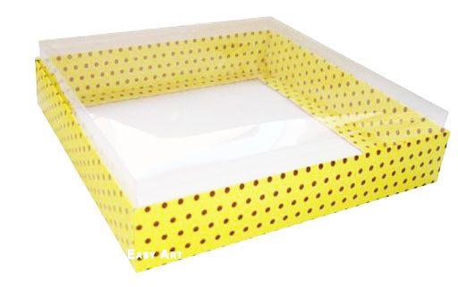 Caixa para 20 Brigadeiros - Amarelo com Poás Marrom