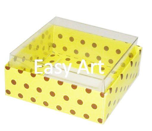 Caixinha para Amêndoas / Bijuteria - Amarelo com Poás Marrom