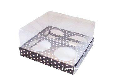 Caixas para Mini Cupcakes - Preto com Poás Brancas