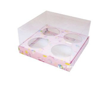 Caixas para Mini Cupcakes - Estampado Bebê Rosa