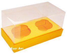 Caixas para 2 Mini Cupcakes - Laranja Claro